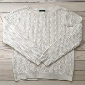 Lauren Ralph Lauren White Cream Cable Knit Sweater